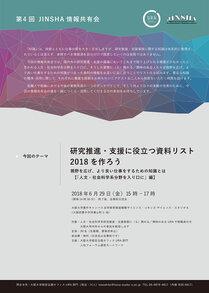 第4回JINSHA情報共有会「研究推進・支援に役立つ資料リスト2018を作ろう--視野を広げ、より良い仕事をするための知識とは」【「人文・社会科学系分野を入り口に」編】