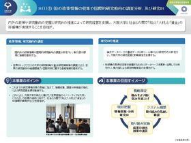 国の政策情報の収集や国際的研究動向の調査分析、及び研究IR [1]
