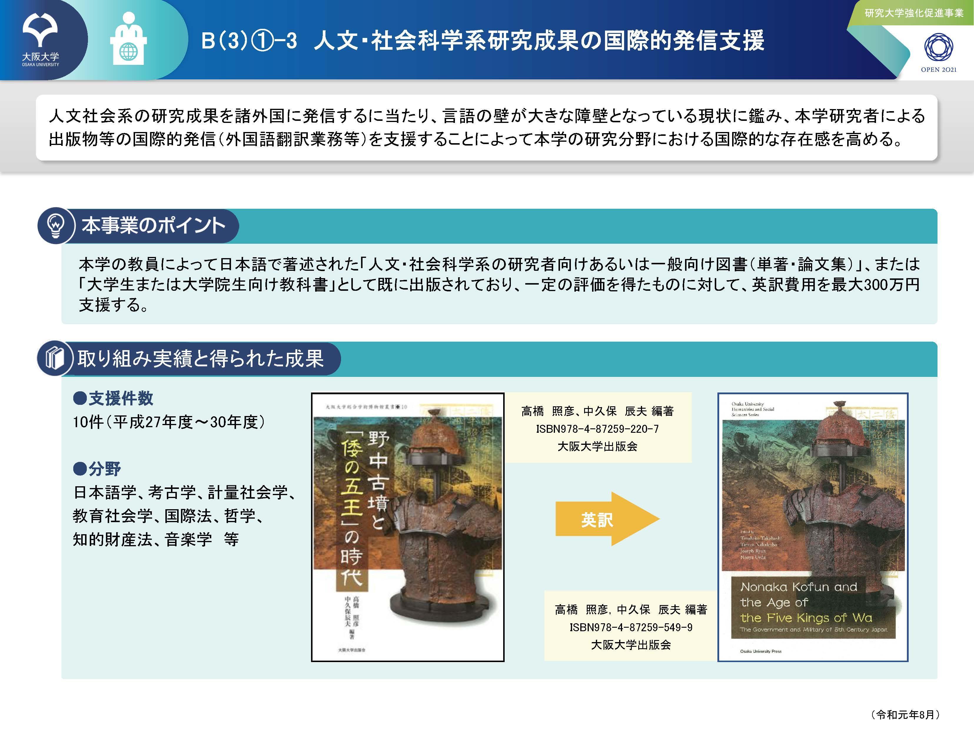 B(3)-1-3 人文・社会科学系研究成果の国際的発信支援